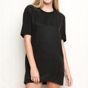Brandy Melville Suede-Like T-Shirt Dress Black -OS